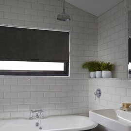 Black Roller Blinds In Bathroom
